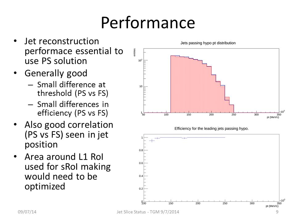 Performance 09/07/14Jet Slice Status - TGM 9/7/20149 Jet reconstruction performace essential to use PS solution Generally good – Small difference at threshold (PS vs FS) – Small differences in efficiency (PS vs FS) Also good correlation (PS vs FS) seen in jet position Area around L1 RoI used for sRoI making would need to be optimized