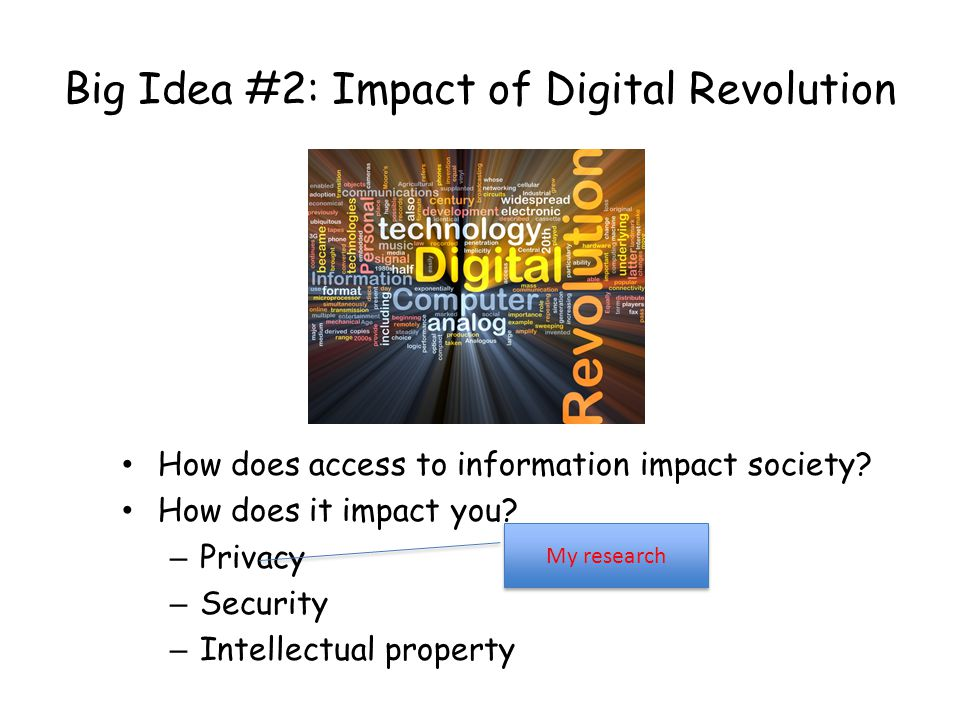 Big Idea #2: Impact of Digital Revolution How does access to information impact society.