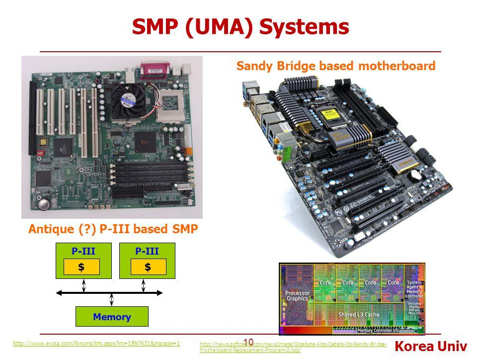 Korea Univ SMP (UMA) Systems 10 http://www.evga.com/forums/tm.aspx?m=1897631&mpage=1 Antique (?) P-III based SMP Sandy Bridge based motherboard http:/