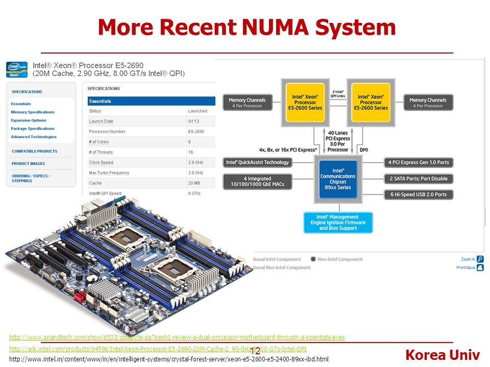 Korea Univ More Recent NUMA System 12 http://ark.intel.com/products/64596/Intel-Xeon-Processor-E5-2690-20M-Cache-2_90-GHz-8_00-GTs-Intel-QPI http://ww