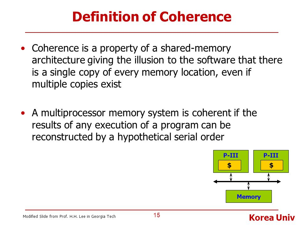 Korea Univ Definition of Coherence Coherence is a property of a shared-memory architecture giving the illusion to the software that there is a single