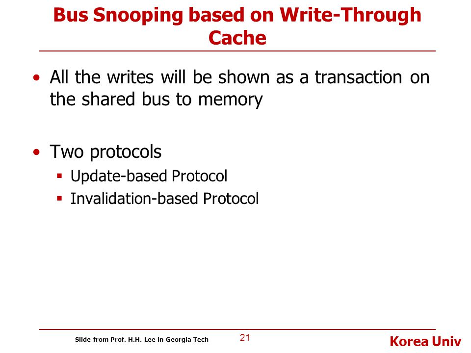 Korea Univ Bus Snooping based on Write-Through Cache All the writes will be shown as a transaction on the shared bus to memory Two protocols  Update-