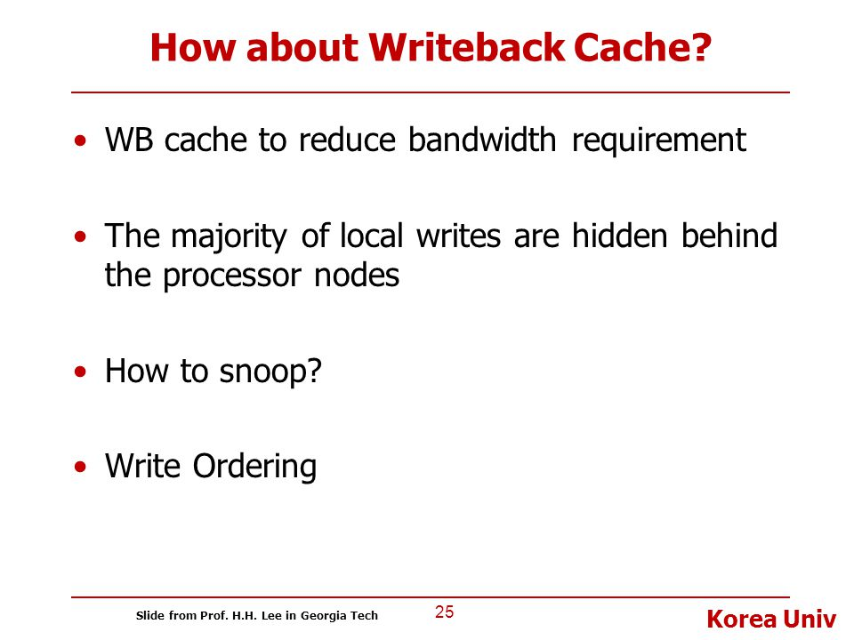 Korea Univ How about Writeback Cache? WB cache to reduce bandwidth requirement The majority of local writes are hidden behind the processor nodes How