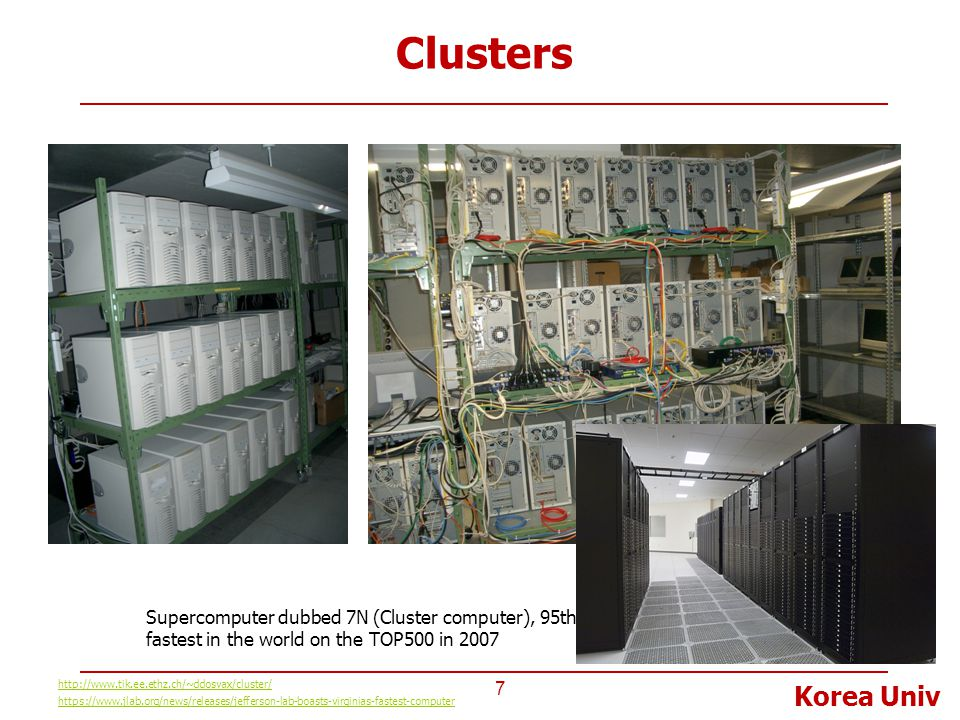 Korea Univ Clusters 7 http://www.tik.ee.ethz.ch/~ddosvax/cluster/ Supercomputer dubbed 7N (Cluster computer), 95th fastest in the world on the TOP500