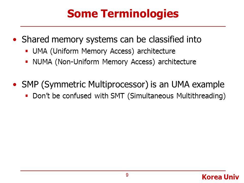 Korea Univ Some Terminologies Shared memory systems can be classified into  UMA (Uniform Memory Access) architecture  NUMA (Non-Uniform Memory Acces