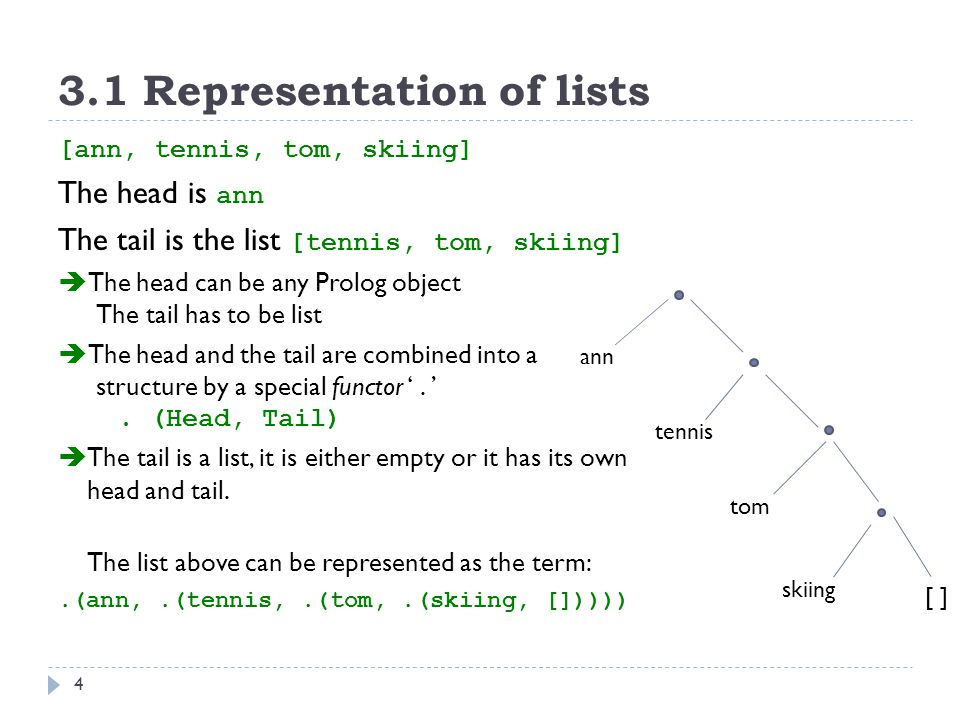 3.1 Representation of lists 4 [ann, tennis, tom, skiing] The head is ann The tail is the list [tennis, tom, skiing]  The head can be any Prolog object The tail has to be list  The head and the tail are combined into a structure by a special functor '.