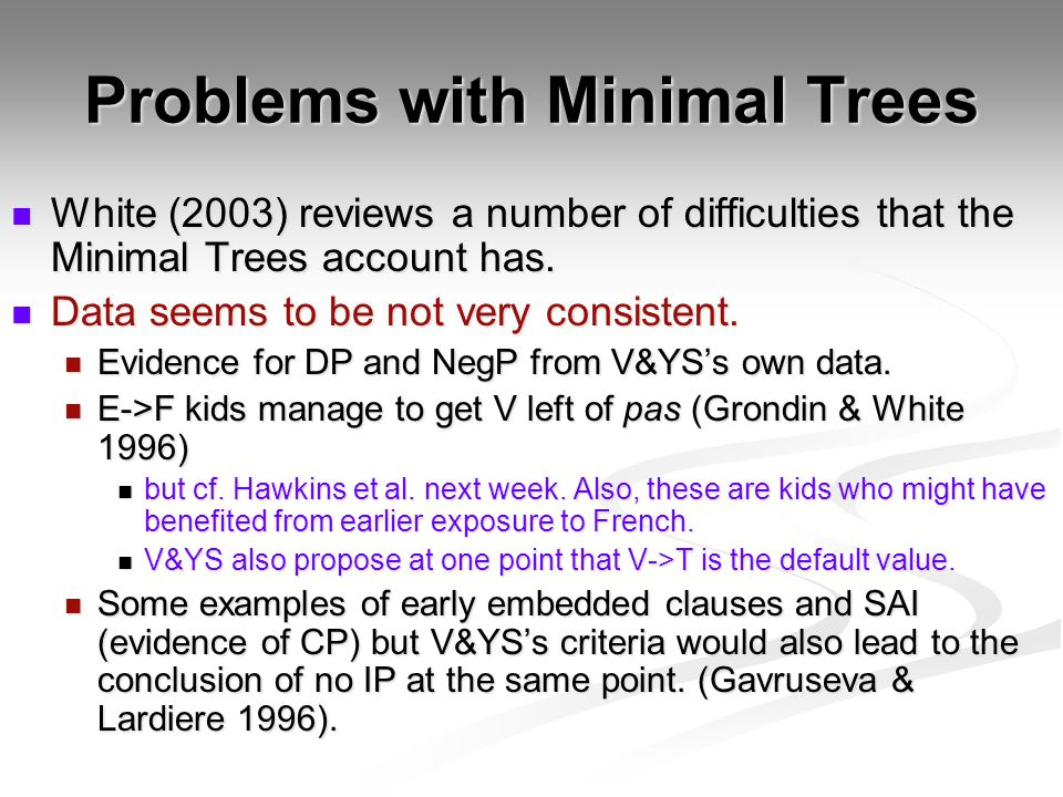 Problems with Minimal Trees White (2003) reviews a number of difficulties that the Minimal Trees account has. White (2003) reviews a number of difficu