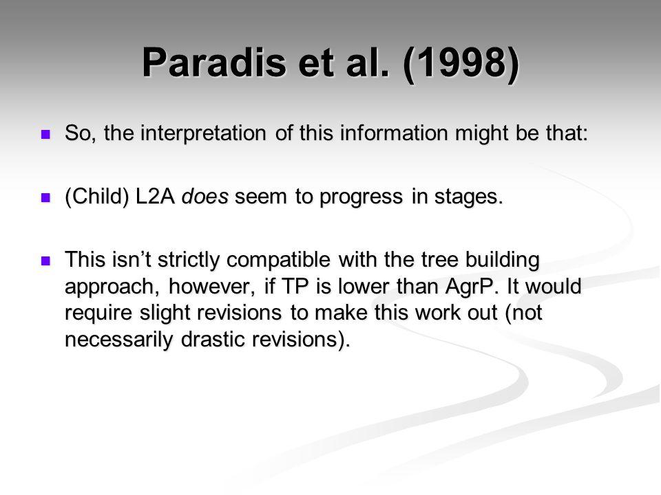 Paradis et al. (1998) So, the interpretation of this information might be that: So, the interpretation of this information might be that: (Child) L2A