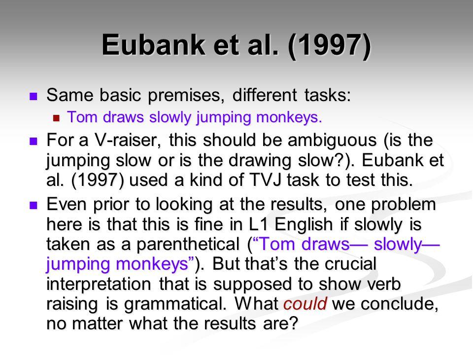 Eubank et al. (1997) Same basic premises, different tasks: Same basic premises, different tasks: Tom draws slowly jumping monkeys. Tom draws slowly ju