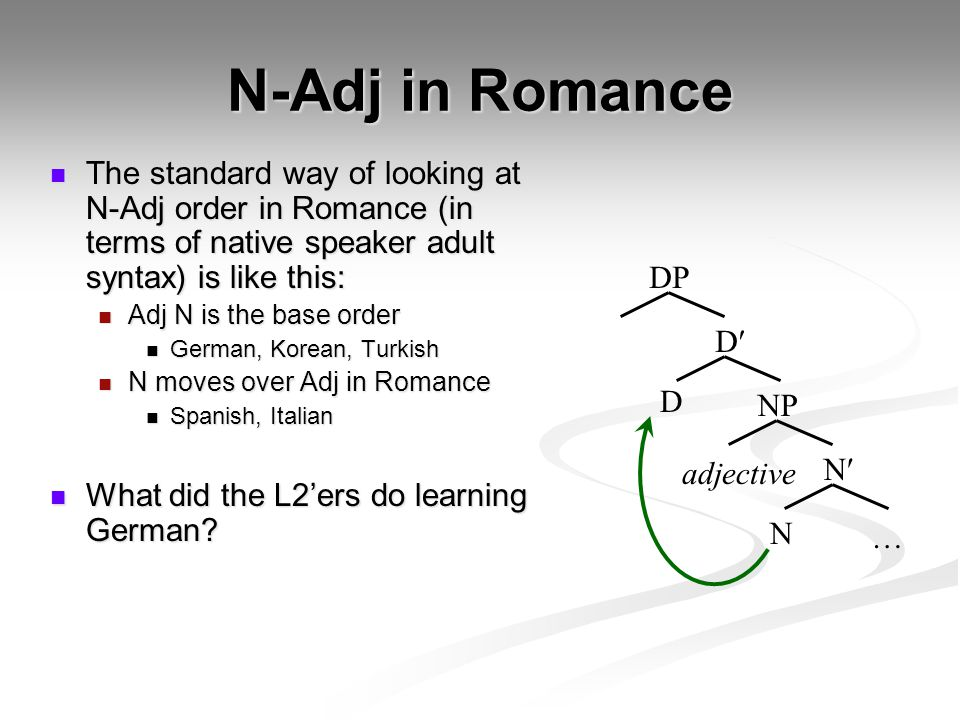 N-Adj in Romance The standard way of looking at N-Adj order in Romance (in terms of native speaker adult syntax) is like this: The standard way of looking at N-Adj order in Romance (in terms of native speaker adult syntax) is like this: Adj N is the base order Adj N is the base order German, Korean, Turkish German, Korean, Turkish N moves over Adj in Romance N moves over Adj in Romance Spanish, Italian Spanish, Italian What did the L2'ers do learning German.