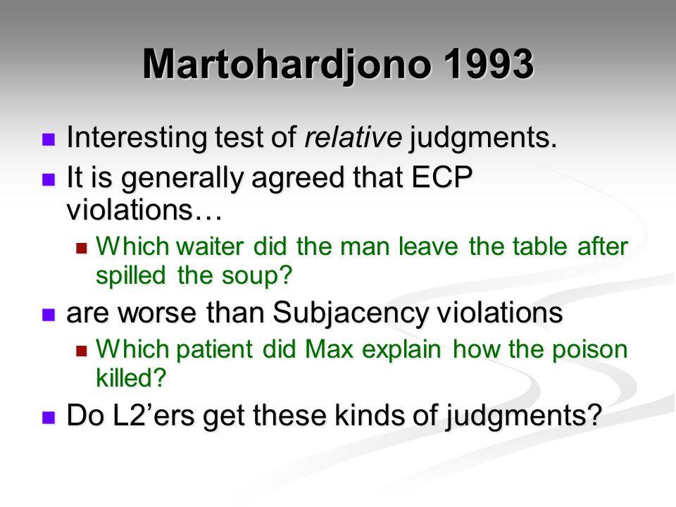 Martohardjono 1993 Interesting test of relative judgments. Interesting test of relative judgments. It is generally agreed that ECP violations… It is g