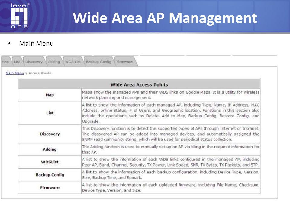 Wide Area AP Management Main Menu