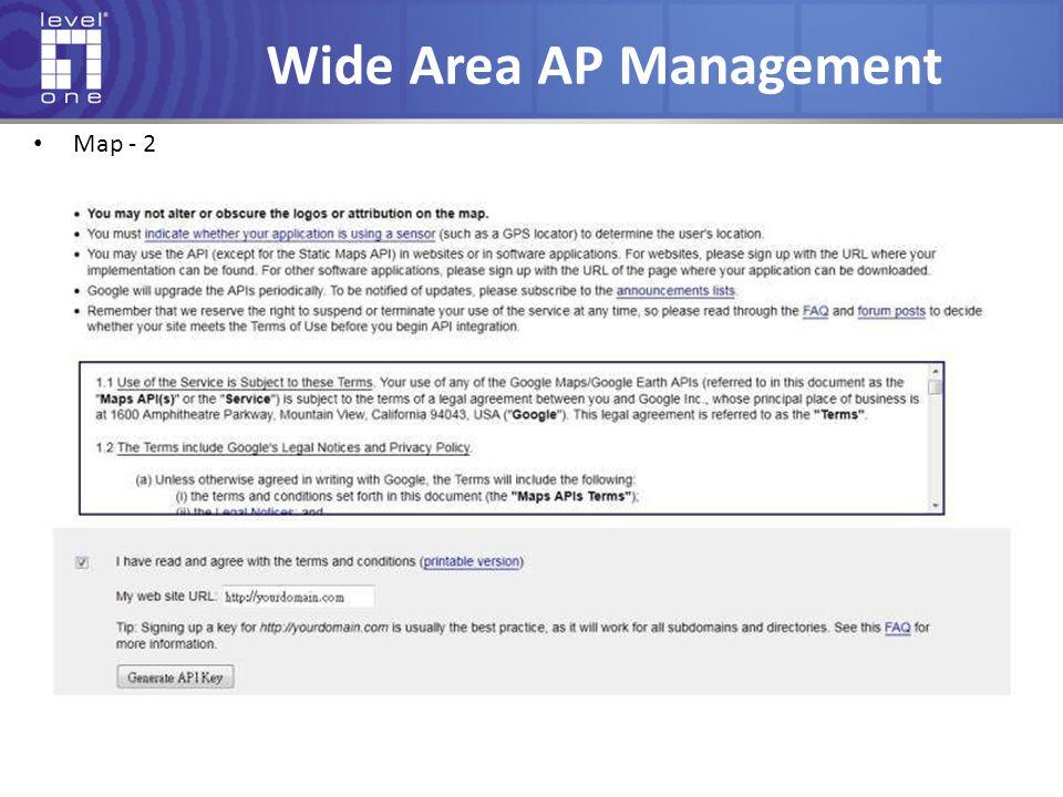 Wide Area AP Management Map - 2