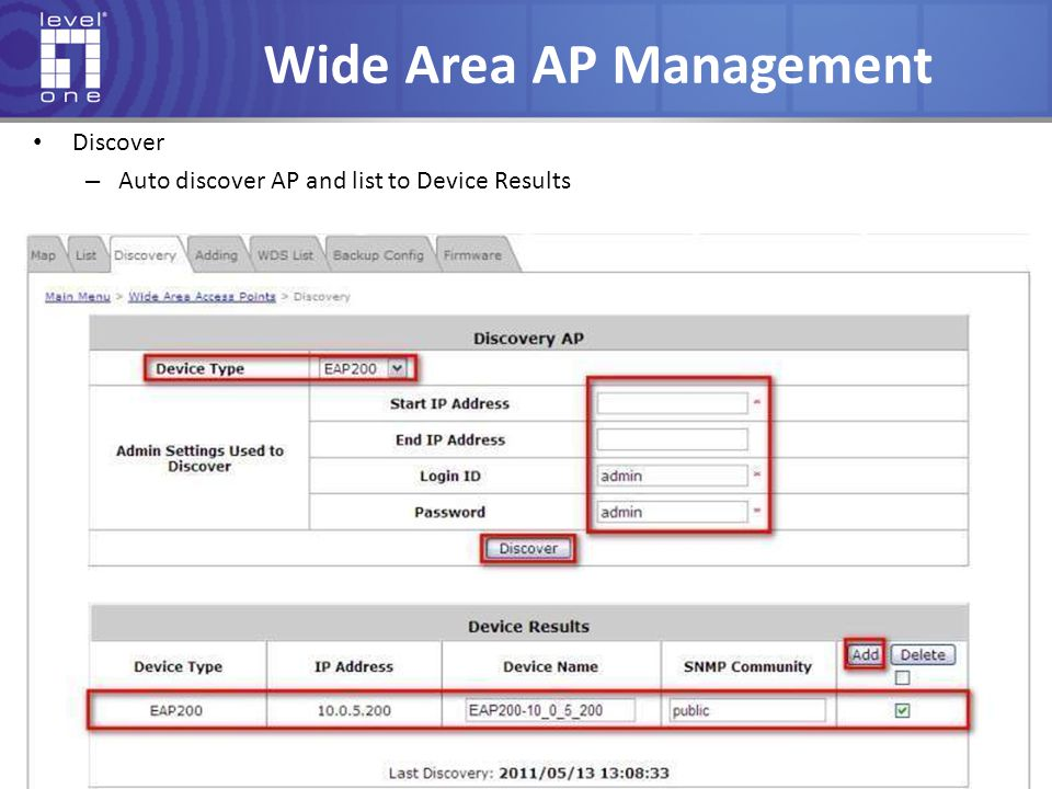 Wide Area AP Management Discover – Auto discover AP and list to Device Results