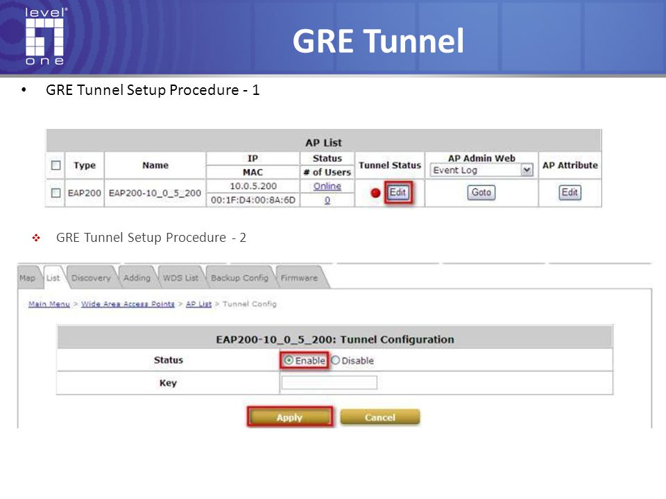 GRE Tunnel GRE Tunnel Setup Procedure - 1  GRE Tunnel Setup Procedure - 2