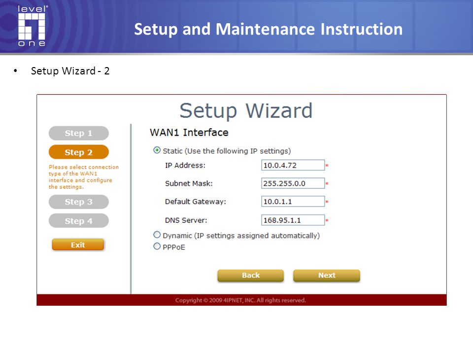 Setup and Maintenance Instruction Setup Wizard - 2