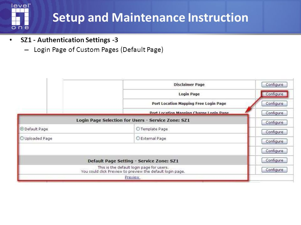 Setup and Maintenance Instruction SZ1 - Authentication Settings -3 – Login Page of Custom Pages (Default Page)