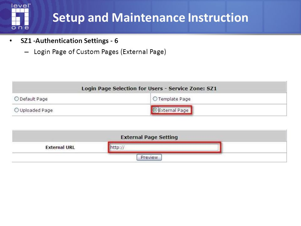 Setup and Maintenance Instruction SZ1 -Authentication Settings - 6 – Login Page of Custom Pages (External Page)