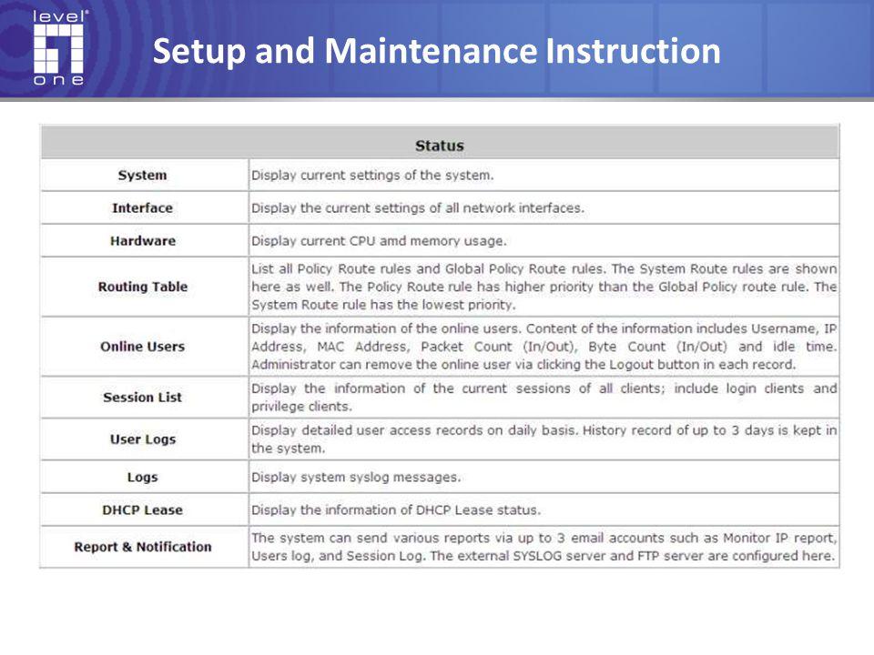 Setup and Maintenance Instruction