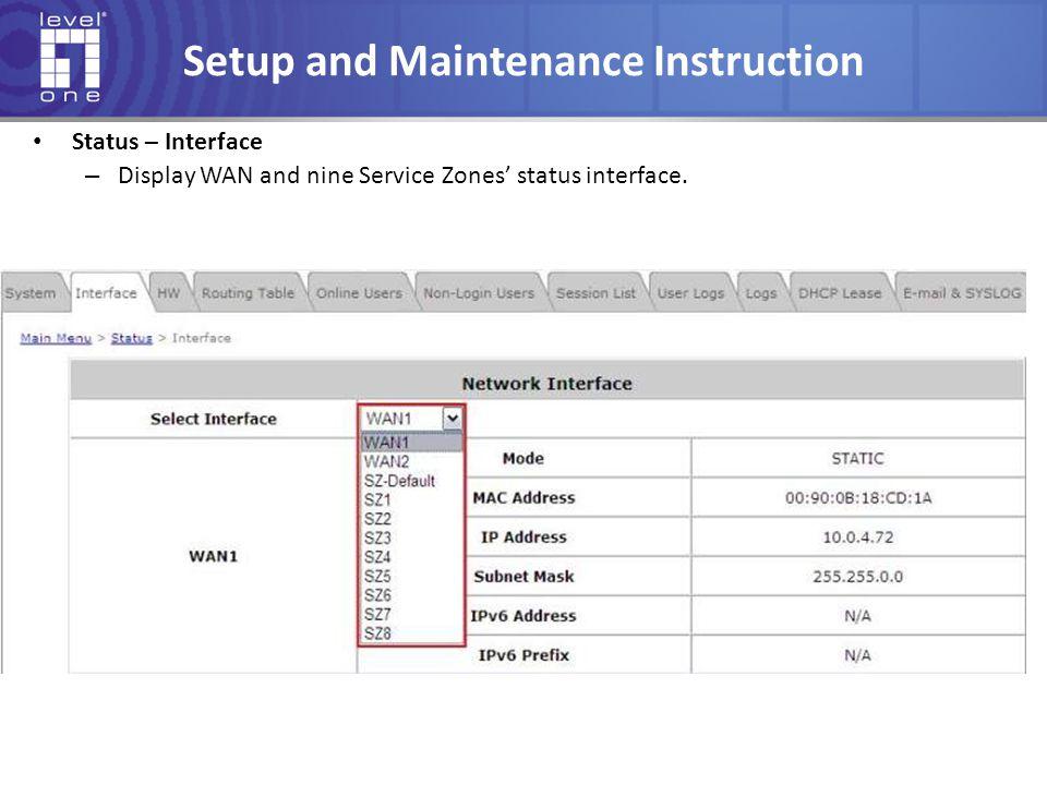 Setup and Maintenance Instruction Status – Interface – Display WAN and nine Service Zones' status interface.