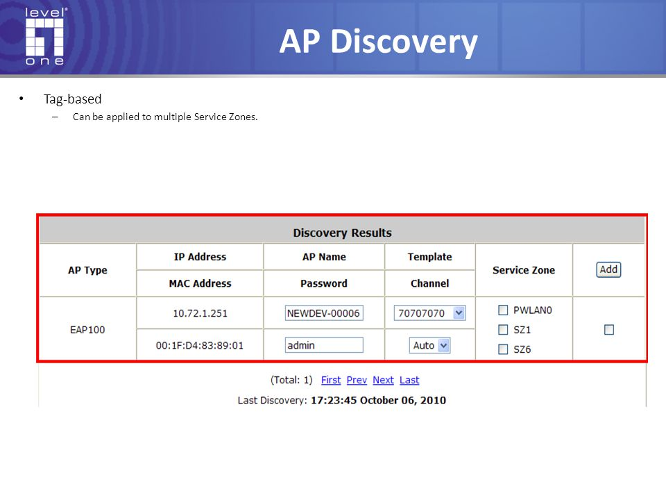 AP Discovery Tag-based – Can be applied to multiple Service Zones.