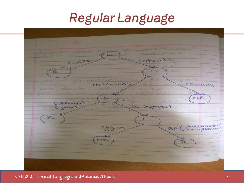 CSE 202 – Formal Languages and Automata Theory 2 Regular Language
