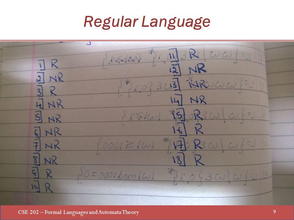 CSE 202 – Formal Languages and Automata Theory 9 Regular Language