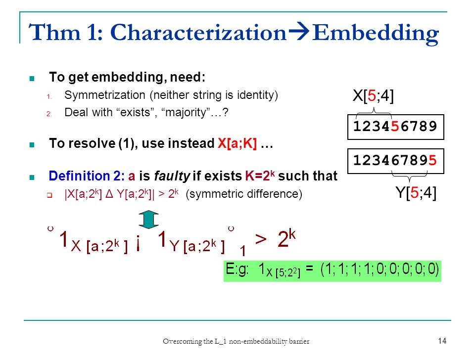 Overcoming the L_1 non-embeddability barrier 14 Thm 1: Characterization  Embedding To get embedding, need: 1.