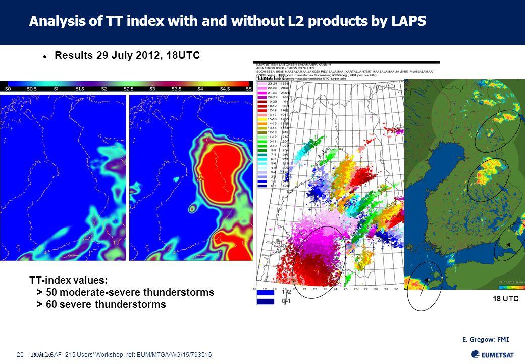 20NWC-SAF 215 Users' Workshop: ref: EUM/MTG/VWG/15/793016 19.01.10 Results 29 July 2012, 18UTC LAPS orgLAPS L2VDP TT-index values: > 50 moderate-severe thunderstorms > 60 severe thunderstorms Time UTC 18 UTC E.