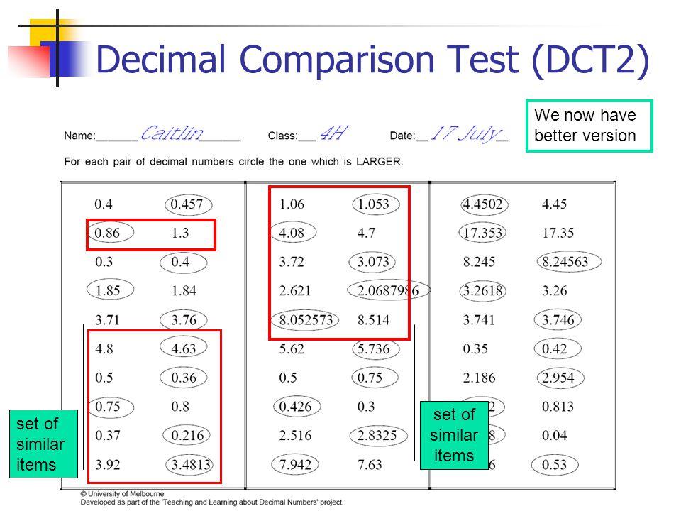 Decimal Comparison Test (DCT2) We now have better version set of similar items set of similar items