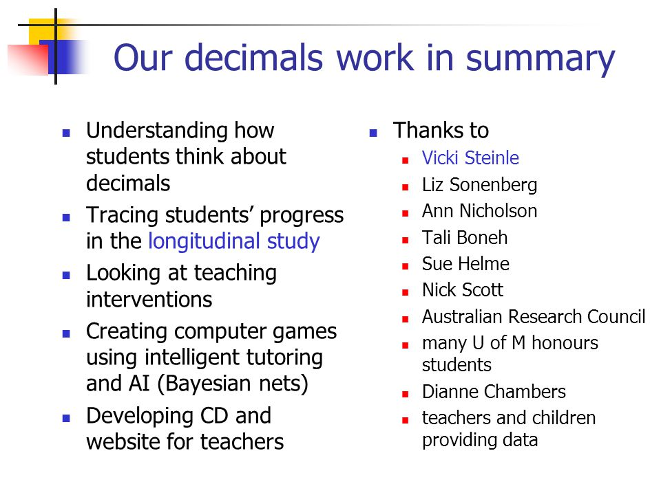 Our decimals work in summary Understanding how students think about decimals Tracing students' progress in the longitudinal study Looking at teaching interventions Creating computer games using intelligent tutoring and AI (Bayesian nets) Developing CD and website for teachers Thanks to Vicki Steinle Liz Sonenberg Ann Nicholson Tali Boneh Sue Helme Nick Scott Australian Research Council many U of M honours students Dianne Chambers teachers and children providing data