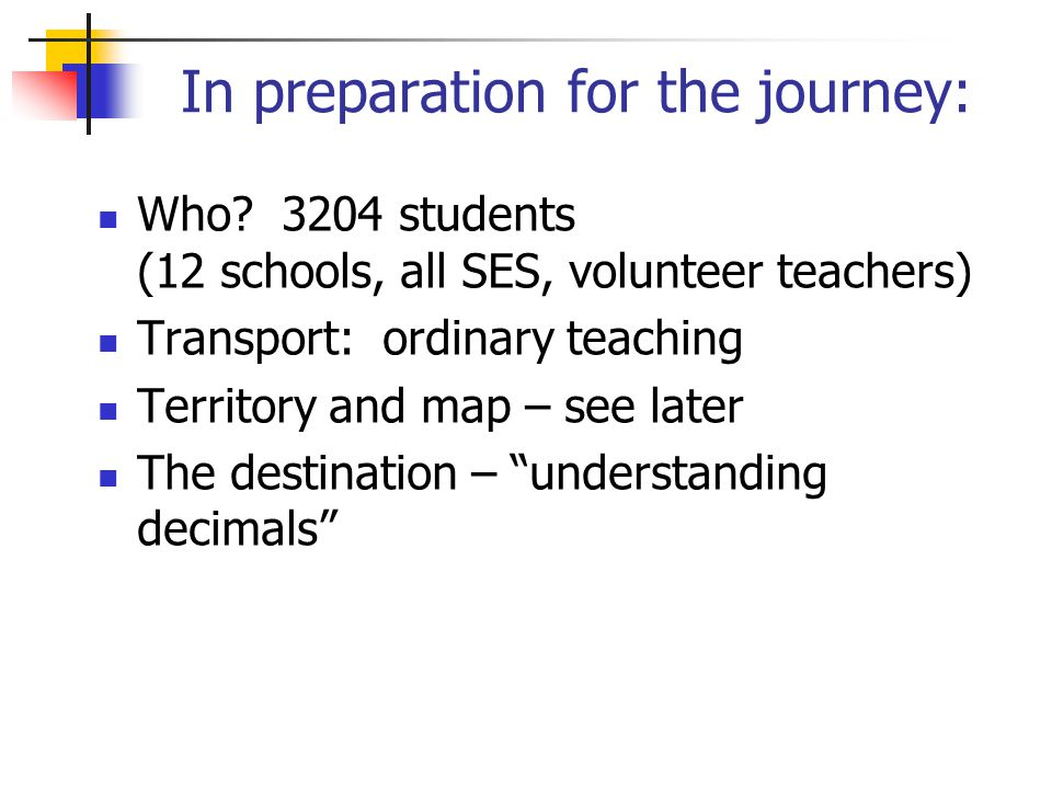 In preparation for the journey: Who? 3204 students (12 schools, all SES, volunteer teachers) Transport: ordinary teaching Territory and map – see late