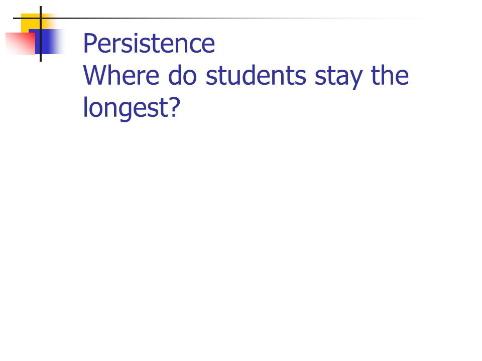 Persistence Where do students stay the longest