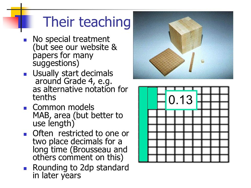 Their teaching No special treatment (but see our website & papers for many suggestions) Usually start decimals around Grade 4, e.g. as alternative not