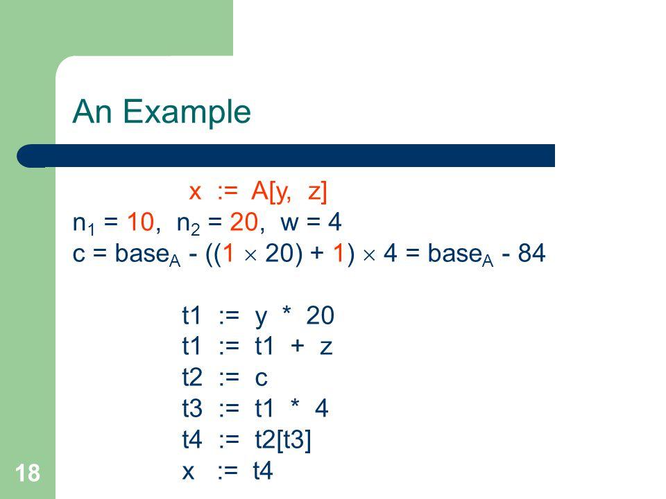 18 An Example x := A[y, z] n 1 = 10, n 2 = 20, w = 4 c = base A - ((1  20) + 1)  4 = base A - 84 t1 := y * 20 t1 := t1 + z t2 := c t3 := t1 * 4 t4 := t2[t3] x := t4