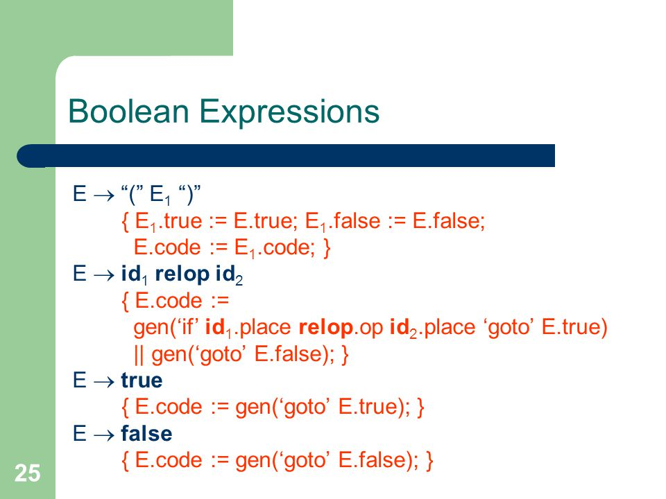 25 Boolean Expressions E  ( E 1 ) { E 1.true := E.true; E 1.false := E.false; E.code := E 1.code; } E  id 1 relop id 2 { E.code := gen('if' id 1.place relop.op id 2.place 'goto' E.true) || gen('goto' E.false); } E  true { E.code := gen('goto' E.true); } E  false { E.code := gen('goto' E.false); }