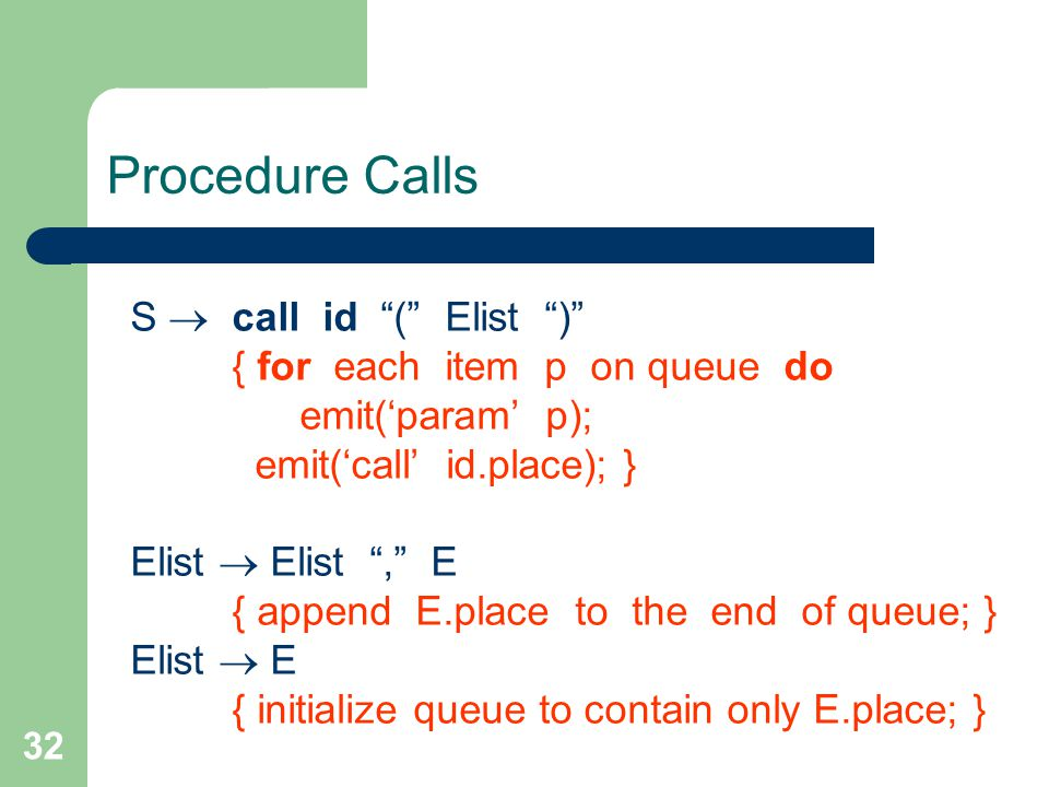 32 Procedure Calls S  call id ( Elist ) { for each item p on queue do emit('param' p); emit('call' id.place); } Elist  Elist , E { append E.place to the end of queue; } Elist  E { initialize queue to contain only E.place; }