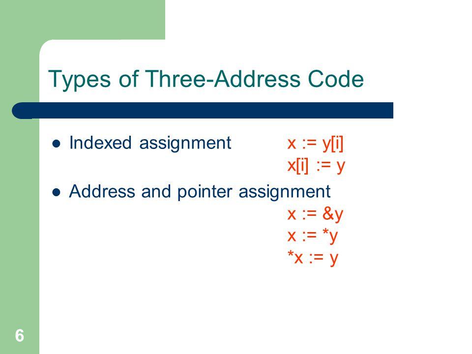 7 Implementation of Three-Address Code Quadruples oparg1arg2result (0) - c t1 (1) * b t1 t2 (2) - c t3 (3) * b t3 t4 (4) + t2 t4 t5 (5) := t5 a