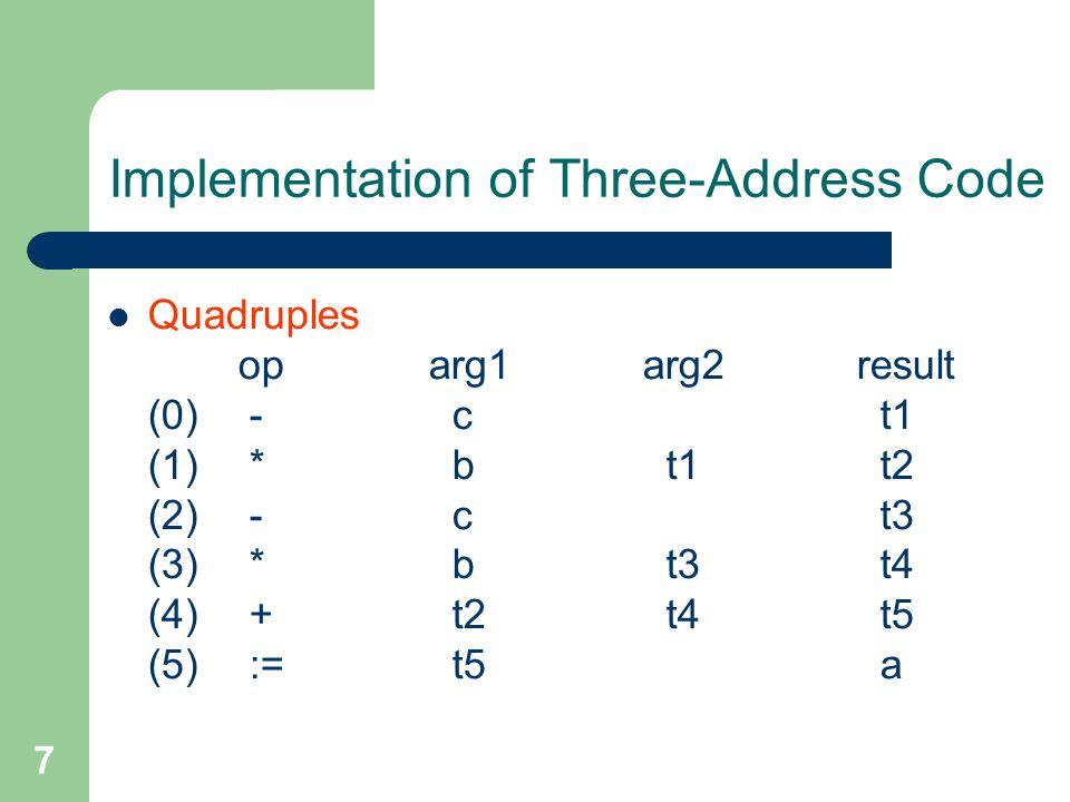 8 Implementation of Three-Address Code Triples oparg1arg2 (0) - c (1) * b (0) (2) - c (3) * b (2) (4) + (1) (3) (5) := a (4)