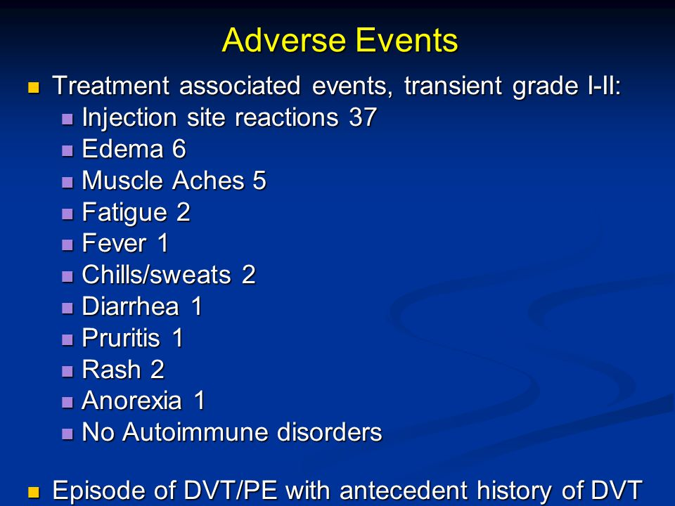 Adverse Events Treatment associated events, transient grade I-II: Treatment associated events, transient grade I-II: Injection site reactions 37 Injection site reactions 37 Edema 6 Edema 6 Muscle Aches 5 Muscle Aches 5 Fatigue 2 Fatigue 2 Fever 1 Fever 1 Chills/sweats 2 Chills/sweats 2 Diarrhea 1 Diarrhea 1 Pruritis 1 Pruritis 1 Rash 2 Rash 2 Anorexia 1 Anorexia 1 No Autoimmune disorders No Autoimmune disorders Episode of DVT/PE with antecedent history of DVT Episode of DVT/PE with antecedent history of DVT