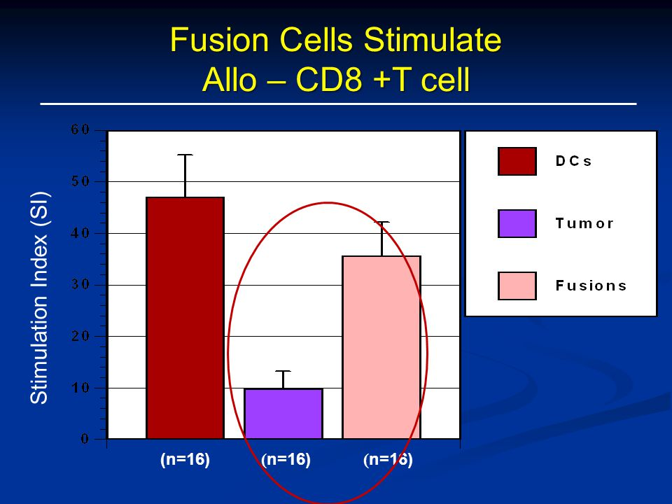 Stimulation Index (SI) ( n=16) Fusion Cells Stimulate Allo – CD8 +T cell