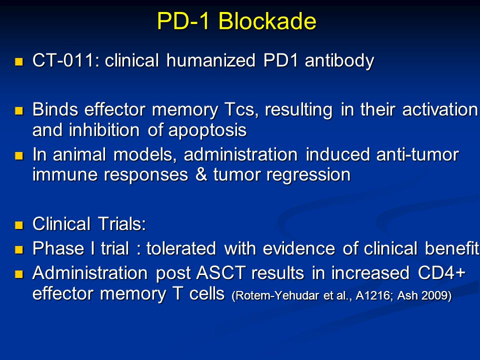 PD-1 Blockade CT-011: clinical humanized PD1 antibody CT-011: clinical humanized PD1 antibody Binds effector memory Tcs, resulting in their activation
