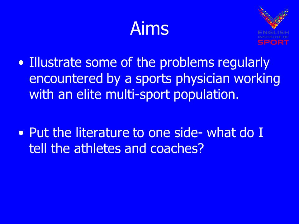 Aims Illustrate some of the problems regularly encountered by a sports physician working with an elite multi-sport population.