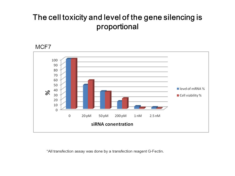 The cell toxicity and level of the gene silencing is proportional *All transfection assay was done by a transfection reagent G-Fectin.
