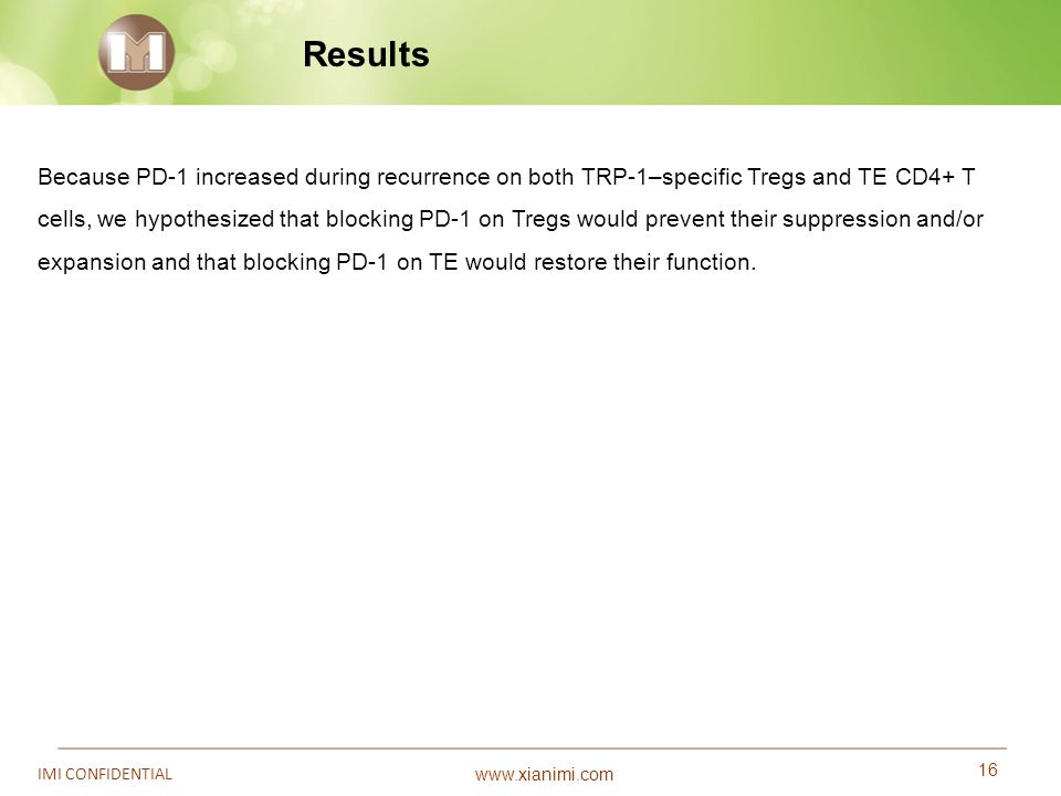 www.xianimi.com 16 IMI CONFIDENTIAL Results Because PD-1 increased during recurrence on both TRP-1–specific Tregs and TE CD4+ T cells, we hypothesized