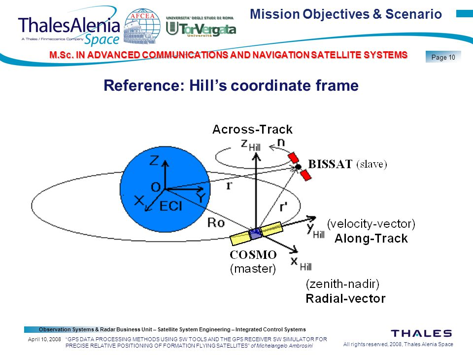 All rights reserved, 2008, Thales Alenia Space Observation Systems & Radar Business Unit – Satellite System Engineering – Integrated Control Systems Page 10 M.Sc.