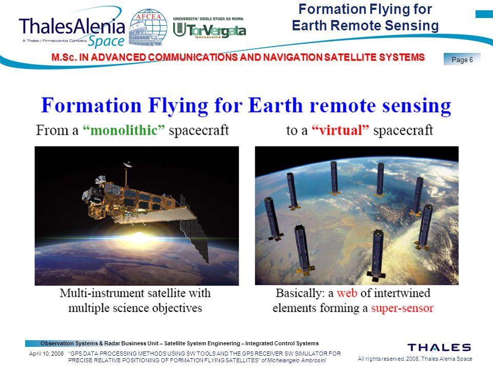 All rights reserved, 2008, Thales Alenia Space Observation Systems & Radar Business Unit – Satellite System Engineering – Integrated Control Systems Page 6 M.Sc.