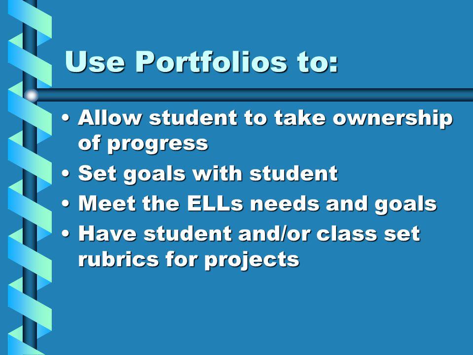 Use Portfolios to: Allow student to take ownership of progressAllow student to take ownership of progress Set goals with studentSet goals with student