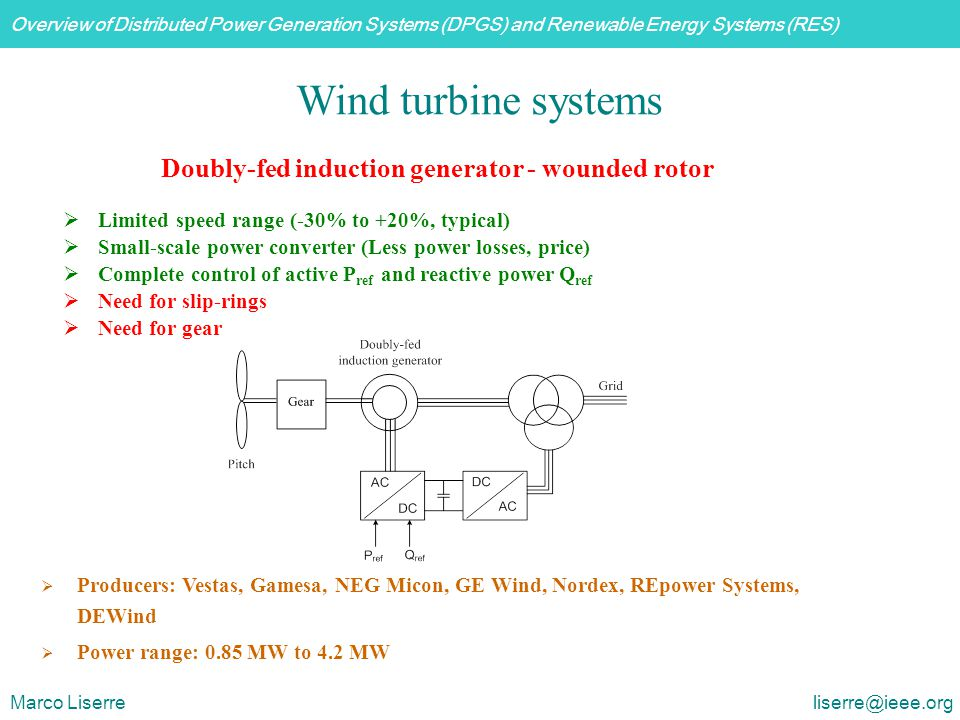 Overview of Distributed Power Generation Systems (DPGS) and Renewable Energy Systems (RES) Marco Liserre liserre@ieee.org  Limited speed range (-30%