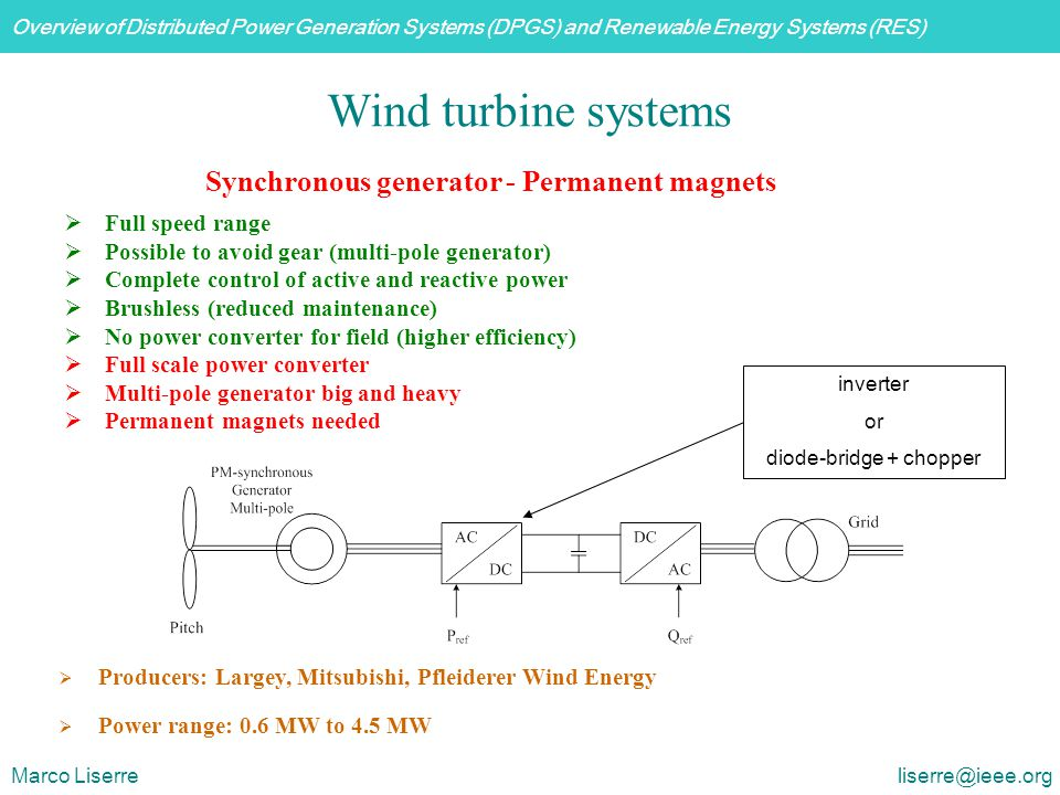 Overview of Distributed Power Generation Systems (DPGS) and Renewable Energy Systems (RES) Marco Liserre liserre@ieee.org  Full speed range  Possibl